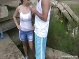 Busty hottie gets fucked outdoor