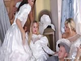 Horny bridesmaids having fun before the wedding
