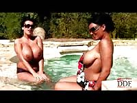 Giant titted chubby babes in the pool