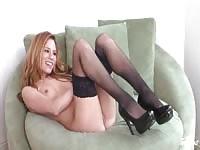 Bree Morgan masturbating in black stockings