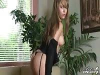 Curvy Ella Milanos posing in a black Gstring