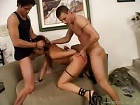 Asian beauty gets fucked by two guys