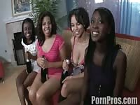 Four black babes share his big cock