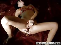 Horny mom playing with her wet pussy