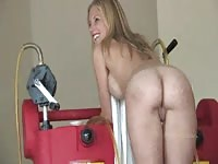 Sexy Natalie posing naked in the garage