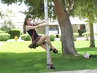 Schoolgirl takes off her panties