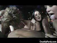Drunk hotties tag team the stripper at a birthday party.