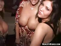 Big titted party girls going wild