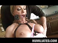 Horny blond milf tied up and humiliated