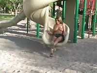 Sadie flashing in a coffeeshop and on a playground