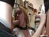 Teen babe forced to jerk and suck in a public library