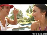 Hot teen fucking her boyfriend outside by the pool