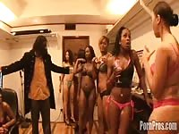 A group of black hotties fuck a few of their clients