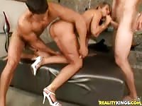 Kelly Divine fucked by two guys