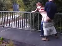 Horny chick fucked above the highway