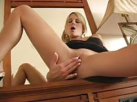 Courtney Simpson spreading and fingering