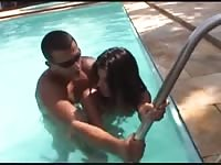Brasilian couple fucking in and around the pool