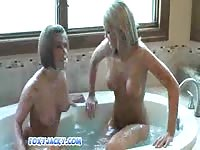 Foxy and Jacky getting wet in a tub 