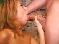 Horny latina gagging on his big dick