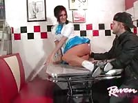 Sexy waitress seduces her costumer