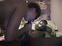 Horny black stud getting fucked by a tight white chick