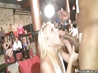 Party chicks sucking off male strippers