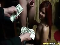 Red haired latina gets fucked for a few dollars