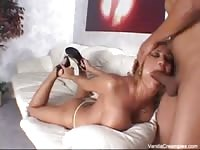 Horny blonde chick getting her mouth and ass fucked
