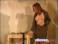 Horny slave gets ready before her master arrives