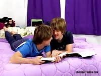Two horny twinks playing on the bed