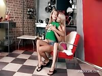 Blonde lezzies making out on a chair