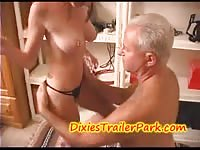 Sweet blonde having sex with an older guy