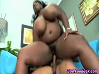Huge titted fat ebony riding on a dick