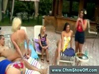Five horny chicks having a pool party with a few guys