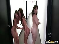 Crazy college girls having fun in the dorm room