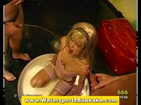 Blonde chick gets a few golden showers before she gets fucked