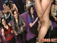 Cowboy stripper gets jerked and blowed by a few hot chicks