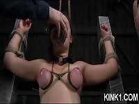Mean chick tamed in bondage