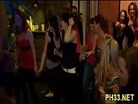 Drunk chicks goind wild in a bar