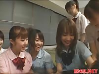 Japanese guy getting foundled by a lot of cute japanese teens