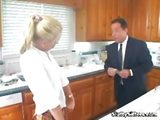Young blonde babysitter sucks and fucks her boss