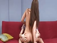Skinny teen riding on her boyfriend's dick