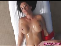 Teen with a sexy body getting a horny massage
