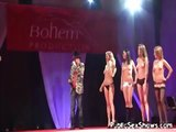 Sexy babes naked on the catwalk