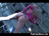 Horny blonde stripping and toying on stage
