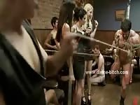 Strong male slave gets abused by a gang of horny mistresses