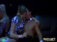 Very hot group sex action in a club