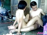 Amateur asian couple having a quickie in the shed