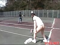 Frozen asian girl fucked on the tenniscourt