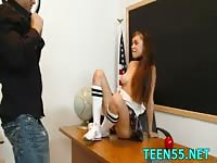 Dirty teen fucking her teacher for better grades